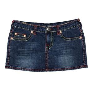 True Religion Dark Wash Denim Mini Skirt Size 29